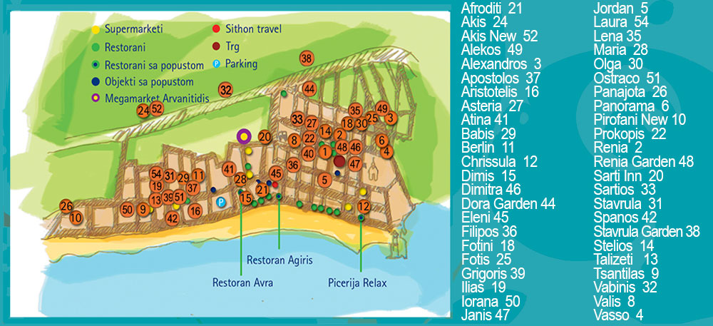 mapa sartija grcka SARTI 2018, Sarti apartmani Leto 2018, Sarti plaze, Sitonija Leto  mapa sartija grcka