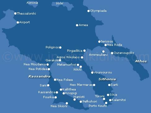 mapa grcke prvi prsten HALKIDIKI 2018, Halkidiki apartmani, Halkidiki hoteli *** Ferior  mapa grcke prvi prsten