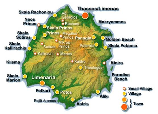 mapa tasos Popular Destinations for Summer Vacation: Thasos, Greece mapa tasos